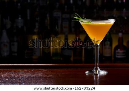 yellow martini cocktail - stock photo