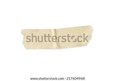 Yellow masking tape on a white background with clipping paths. - stock photo