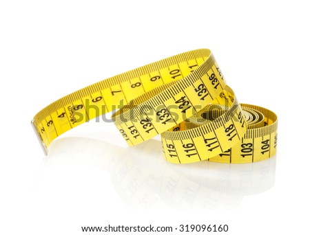 Yellow measure tape. Isolated on white background - stock photo