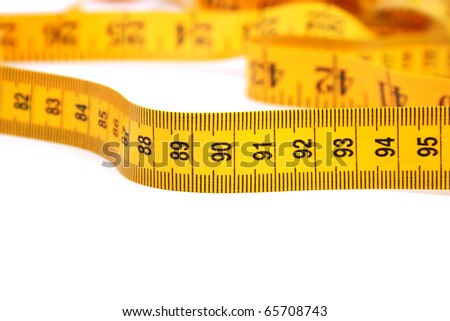 Yellow measurement isolated on white background. - stock photo