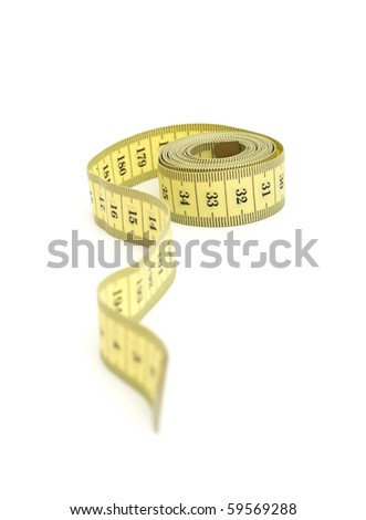 Yellow measurer tape isolated on a white background - stock photo