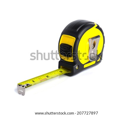 Yellow measuring tape isolate on white background.