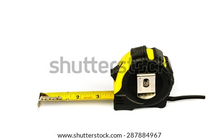 yellow Measuring Tape isolated on white background .