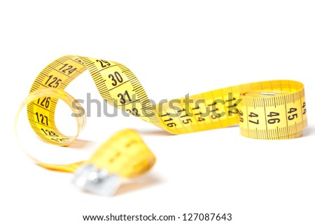 Yellow measuring tape isolated over white background