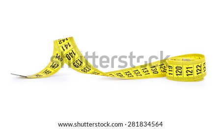 Yellow measuring tape of the tailor isolated on white background - stock photo