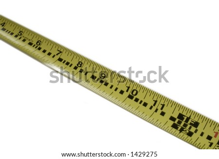 Yellow measuring tape on a white background