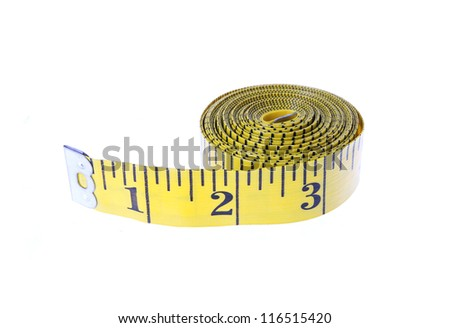 yellow measuring tape rolled up isolated on white - stock photo