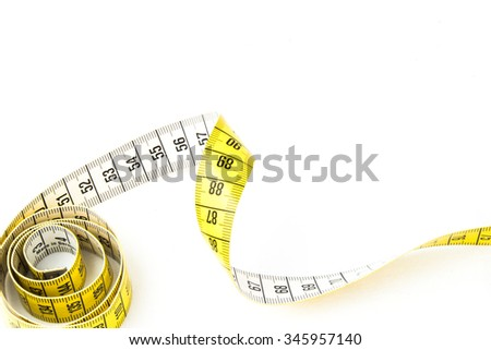 Yellow measuring tape - white background