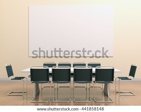 Yellow meeting room in the office with table, chairs, clean poster with white blank mockup for branding design, advertising, text or image. For lectures, lessons, hearings, master classes, training