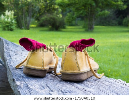 Yellow mens casual shoes with red socks on wooden tree-trunk. Close-up, log, rural. - stock photo