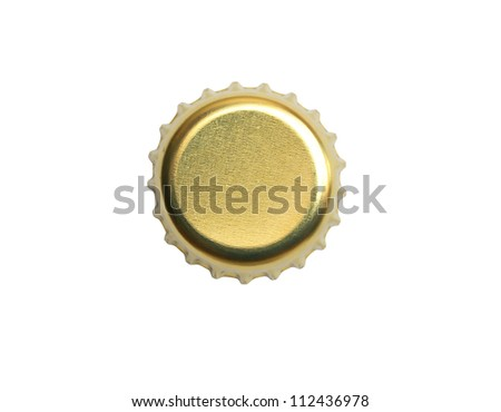 Yellow metal bottle cap on white background. Isolated with clipping path - stock photo