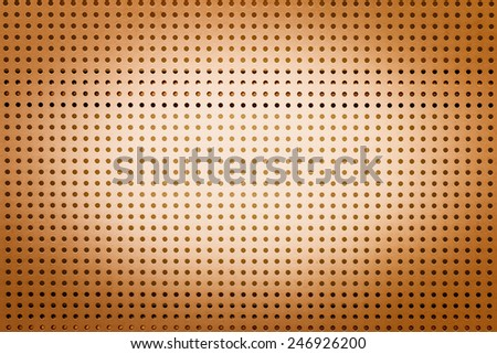 Yellow metal hole sheet texture closeup  background - stock photo