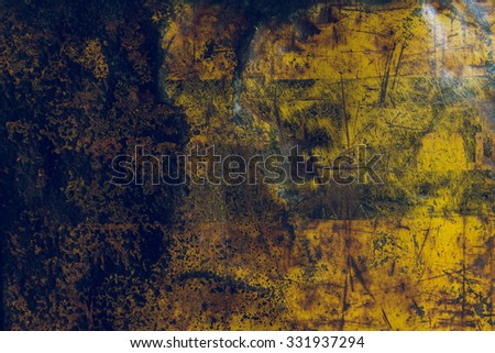 yellow metal rusty corroded texture, grunge background - stock photo