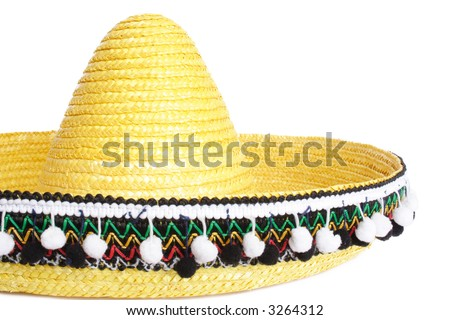 Yellow mexican hat with decorations - stock photo