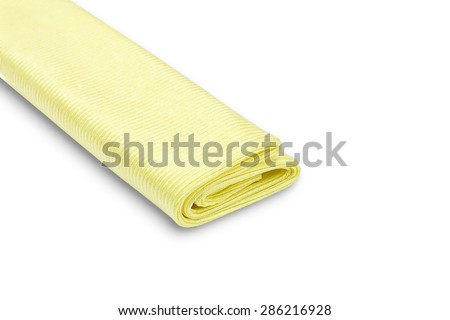 Yellow microfiber duster isolated on white background - stock photo