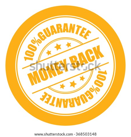 Yellow Money Back 100% Guarantee Campaign Promotion, Product Label, Infographics Flat Icon, Sign, Sticker Isolated on White Background  - stock photo