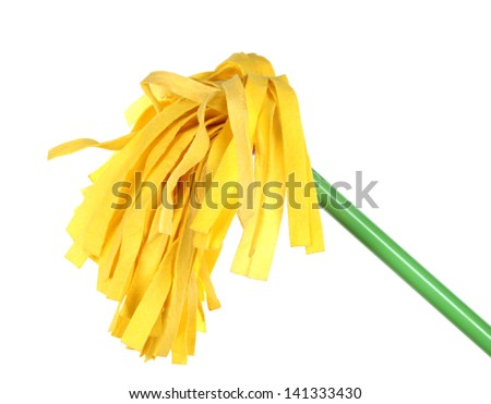 Yellow mop for floor isolated on white - stock photo