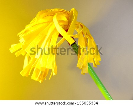 Yellow mop for floor on light background - stock photo
