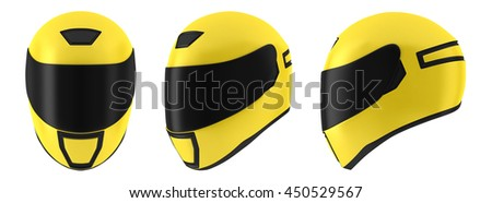 Yellow motorcycle helmet 3D illustration