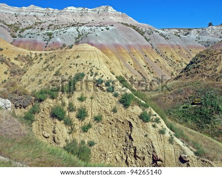 Yellow Mounds Observation Point in the Badlands National Park, South Dakota - stock photo