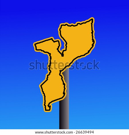 yellow Mozambique map warning sign on blue illustration JPEG