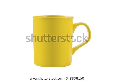 yellow mug isolated on white background with clipping path - stock photo