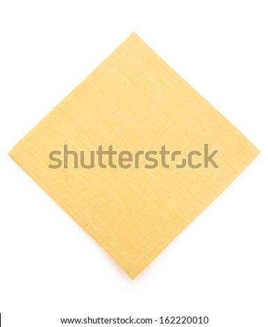 yellow napkin isolated on white background - stock photo