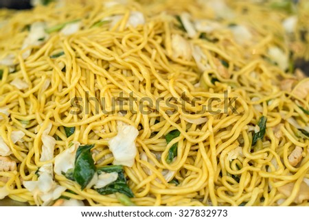 Yellow noodles with vegetable in Vegetarian Festival Thailand