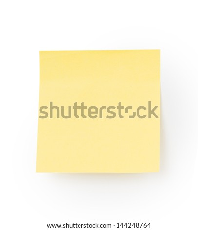 Yellow note paper - stock photo