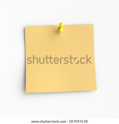 Yellow note paper and pin, Isolated on white background. - stock photo