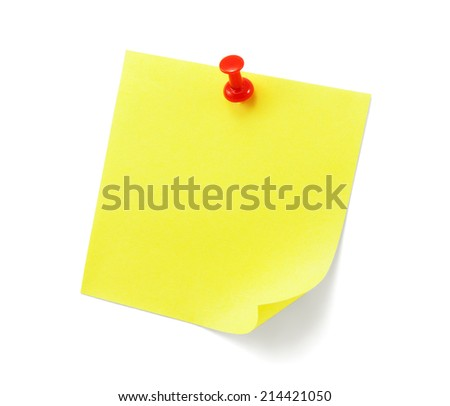 yellow note with shade on white - stock photo