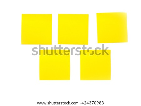 yellow notes paper on white background