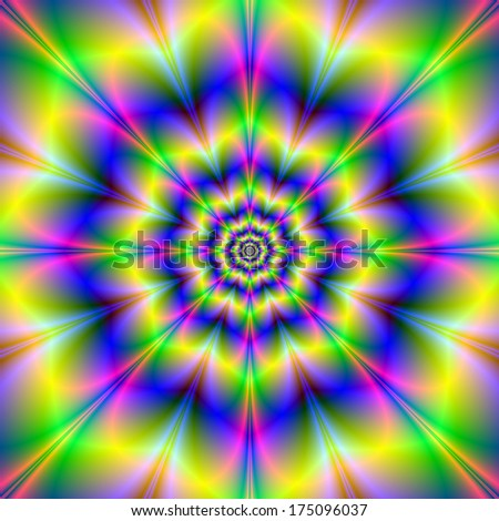 Yellow Octagon Rose / Digital abstract fractal image with a octagon flower design in yellow, blue, pink and green