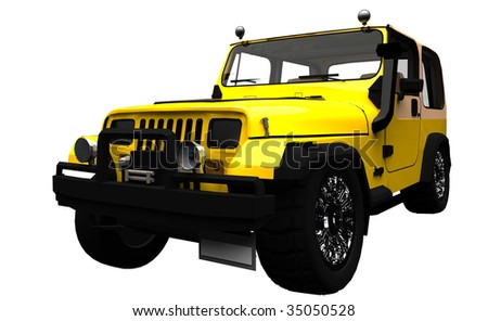 Yellow offroad vehicle Isolated - stock photo