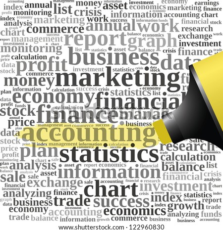Yellow oil based marker with accounting info-text graphics and arrangement concept (word cloud) - stock photo