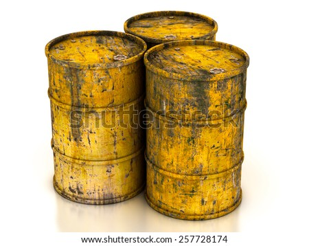 yellow old barrels on a white background