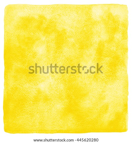 Yellow or amber watercolor abstract background. Square watercolour texture with stains. Uneven edges. Painted template. - stock photo