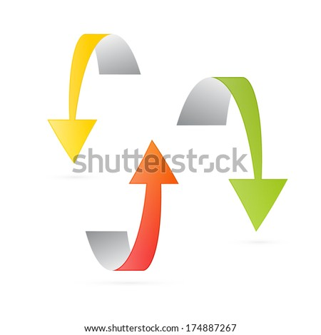 Yellow, Orange and Green 3d Arrows Isolated on White Background