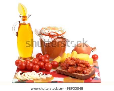 Yellow-orange and red vegetarian food. - stock photo