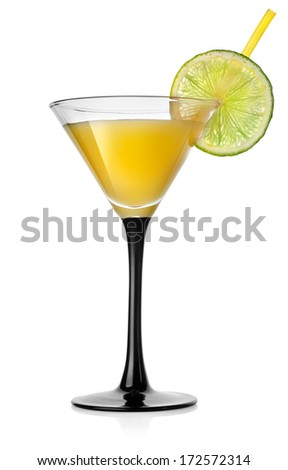 Yellow orange cocktail isolated on a white background