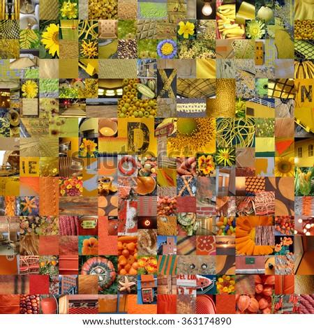YELLOW ORANGE patchwork photo montage background - stock photo
