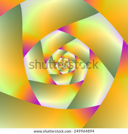 Yellow Orange Pink and Green Spiral / A digital abstract fractal image with a spiral design in yellow, pink, orange and olive green. - stock photo