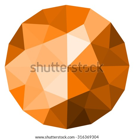 Yellow, orange round gem isolated on white background. Yellow, orange polygonal sphere with gradient color low poly triangles. Topaz, sun, fireopal, citrine.