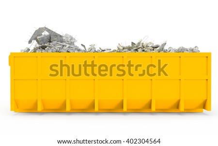 Yellow Orange rubble container left profile view isolated on white background. 3D Rendering, 3D Illustration. - stock photo