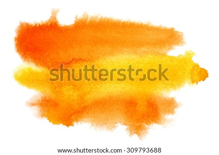 Yellow - orange watercolor stain - space for your own text - stock photo
