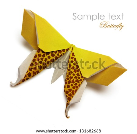 Yellow origami butterfly on the white background - stock photo
