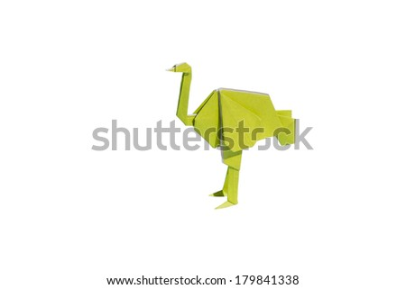 Yellow Origami ostrich isolated on white