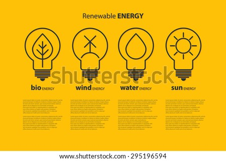 Yellow outline bulbs with alternative energy sources copyspace. Eco-friendly energy source. Renewable energy. Energy conservation. Energy efficiency. Energy saving. Eco logo. Alternative energy - stock photo