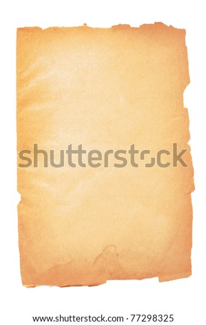 Yellow page of the old book on white background - stock photo