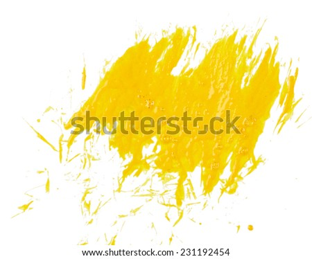 Yellow paint isolated on white background